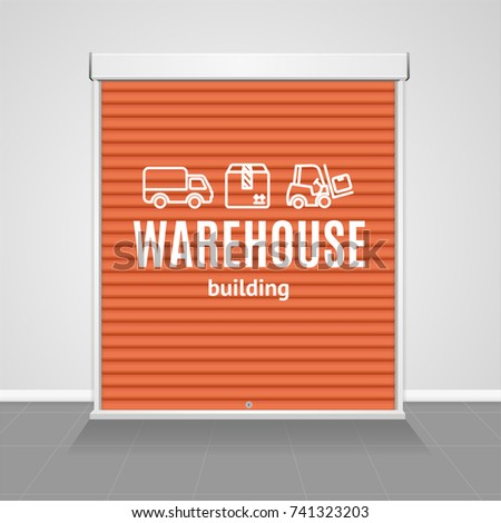 Realistic Detailed 3d Red Warehouse Shutter Door Architecture Exterior Entrance for Hangar, Factory, Store or Storehouse Building. Vector illustration