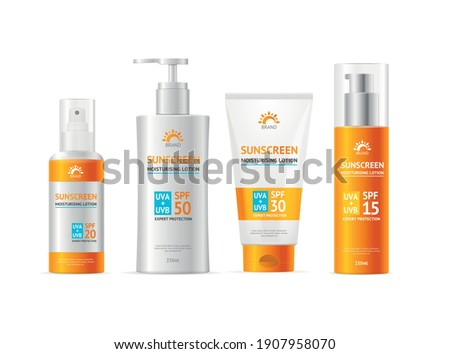 Realistic Detailed 3d Sunscreen Moisturizer Lotion Cream Different Types Bottle and Tube Shapes Set. Vector illustration Stock photo ©
