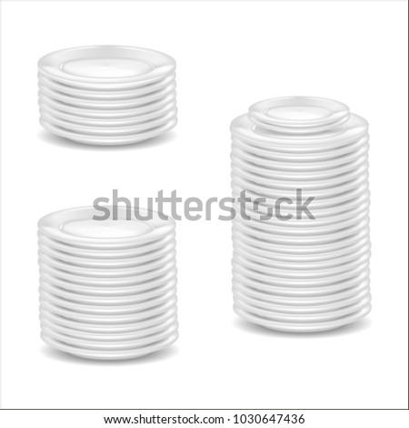 Realistic Detailed 3d Template Blank White Dishware Mock Up for Kitchen, Restaurant. Vector illustration Stack of Round Plates Set