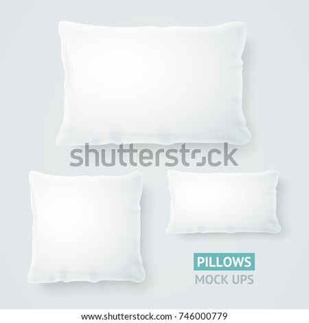 Realistic Detailed 3d Template Blank White Pillow Mock Up Set Square and Rectangle Shape for Comfortable Relax. Vector illustration