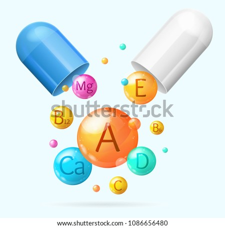 Realistic Detailed 3d Vitamin and Mineral with Pill Background Card Concept Healthy Nutrition or Diet. Vector illustration of Pharmaceutical Capsule