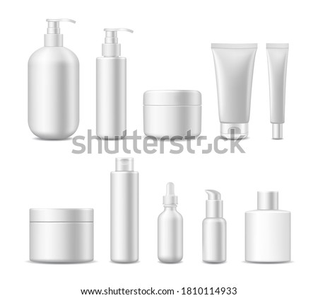 Realistic Detailed 3d White Blank Cosmetic Package Empty Template Mockup Set Include of Container, Bottle and Tube. Vector illustration Foto stock ©