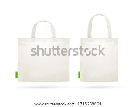 Realistic Detailed 3d White Blank Tote Bag Empty Template Mockup Set. Vector illustration of Mock Up Bags Foto stock ©