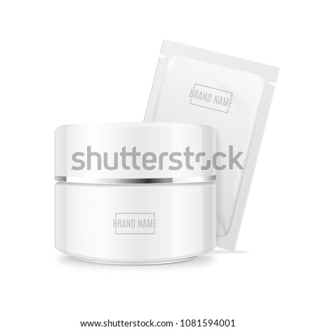 Realistic Detailed 3d White Template Blank Mockup Creme and Tester Set. Vector illustration of Moisturizing Cream Container Jar
