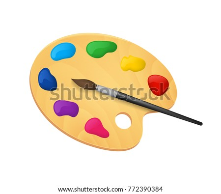 Realistic Detailed 3d Wooden Art Palette with Paints and Brush Isolated on White Background. Vector illustration of Tools for Drawing