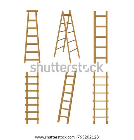 Realistic Detailed 3d Wooden Stairs Ladders Different Types Set for Interior and Construction. Vector illustration of Stair or Ladder
