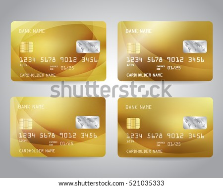Realistic detailed gold credit cards set with colorful abstract gold design background. Vector illustration EPS10