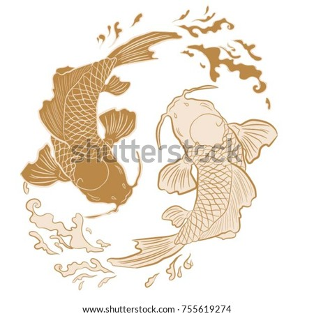 Realistic Detailed Hand Drawn Illustration Of Two Koi Carps Swimming On Background Water Waves