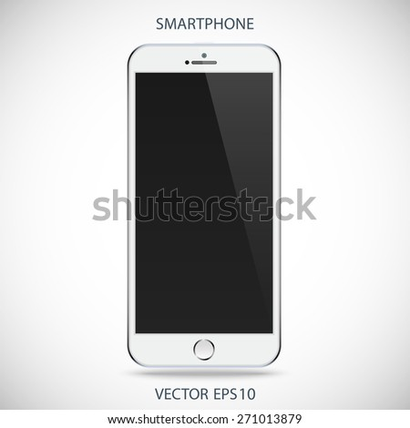 realistic detailed silver smartphone in iphone style with black touch screen isolated on a gray background. vector illustration eps10