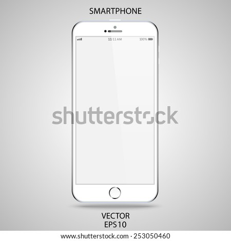 realistic detailed white smartphone in iphone style with touch screen isolated on grey background. vector illustration eps10