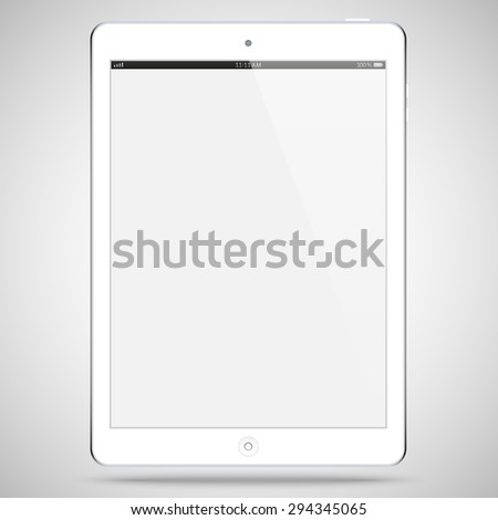 realistic detailed white tablet in ipad style with touch screen isolated on grey background. vector illustration eps10