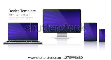 Realistic devices. Computer laptop tablet phone mockup, smartphone screen mobile gadget display. Monitor vector device template