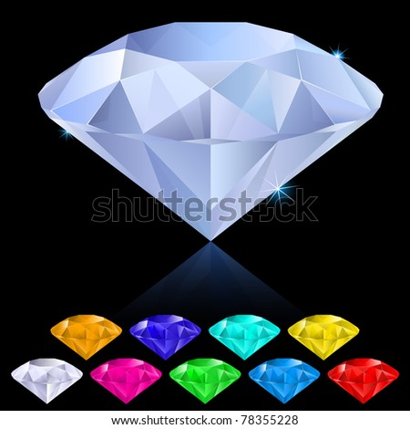 Realistic diamonds in different colours. Illustration for design on black background