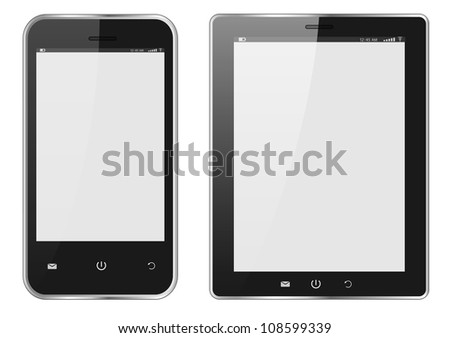 Realistic Digital tablet PC and Mobile phone with blank screen isolated on white. Vector EPS10