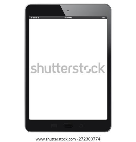 Realistic Digital Tablet Vector illustration - Black- Similar to iPad.