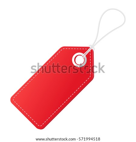 Realistic discount red tag for sale promotion. Vector vintage label template