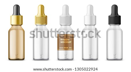 Realistic dropper glass bottle set. Cosmetic blank vials for liquid drug. transparent bottles template with colorful glossy and matt cap. 3d Vector mockup package isolated on white background