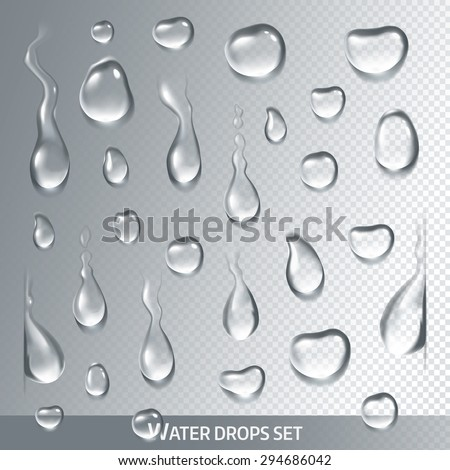 realistic drops pure  clear