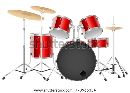 Realistic drum set on a white background. Vector illustration