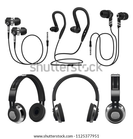 Realistic earphones, wireless and corded music headphones. 3d vector illustration isolated on white background. Collection of equipments earphone stereo, modern headset device