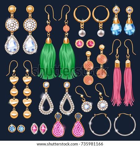 Realistic earrings jewelry accessories icons set. Gold and diamond pearl gemstones pendant vector illustration. Stud hoop drop dangle earrings designs.