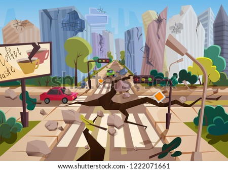 Realistic earthquake with ground crevices in cartoon ruined urban city houses with cracks and damages. Natural disaster or cataclysm, nature catastrophe vector illustration.