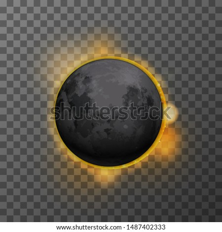 Realistic eclipse with realistic satellite moon and star sun on transparent background