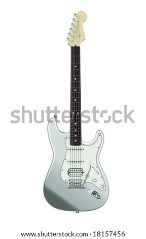 realistic electric guitar isolated on white background