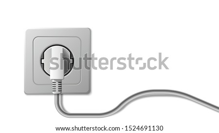 Realistic electric socket and plug on white background, vector illustration Сток-фото ©