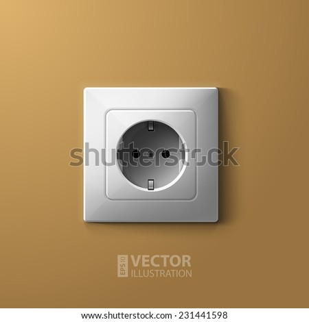 realistic electric white socket