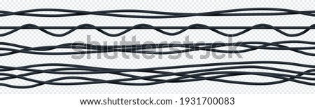 Realistic electrical cable. 3D seamless flexible insulated electric copper wires. Curved bunch of black ropes. Intertwined wiring on transparent background. Vector industrial electricity equipment set