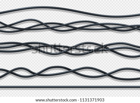 Realistic electrical wires, connection industrial cables vector set. Wire connection, cable power energy illustration