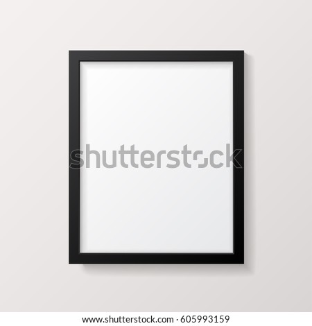 Realistic Empty Black Picture Frame Mockup - Realistic empty black 8x10 picture frame, isolated on a neutral gray background. EPS10 file with transparency.