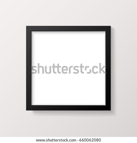 Realistic Empty Black Square Picture Frame Mockup - Realistic empty black square picture frame, isolated on a neutral off-white background. EPS10 file with transparency.