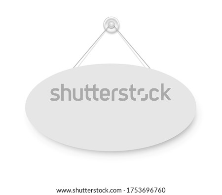 Realistic empty blank signboard white oval hanged on suction cup. Round shape sign frame template hanging on wall. Price tag mockup. Advertisement, promotion isolated on white background Foto stock ©