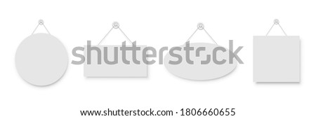 Realistic empty blank white signboards hanged on suction cup. Circle, rectangle, oval and square frame templates hanging on wall. Price tags mockup. Advertisement, promotion isolated on white Foto stock ©