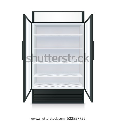 Realistic empty commercial fridge with shelves and transparent opened doors isolated vector illustration
