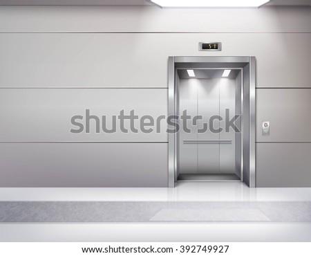 realistic empty elevator hall