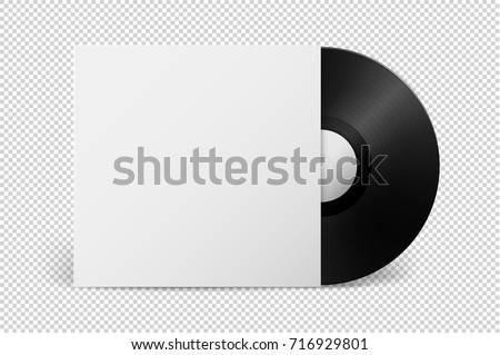 Realistic empty music gramophone vinyl LP record with cover icon closeup isolated on transparent background. Design template of retro long play for advertising, branding, mockup. Stock vector. EPS10.