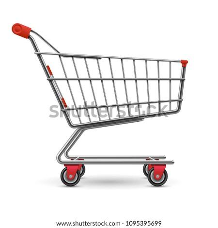 Realistic empty supermarket shopping cart vector illustration isolated on white background. Illustration of basket for supermarket, trolley retail metallic pushcart