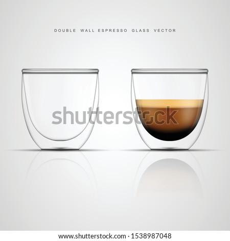 realistic espresso glass cup