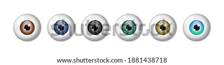 Realistic eyeballs set. Different colored eyes. Brown, blue, black, green, amber iris. Most common eye colors. Ophtalmology. Colored contact lenses. White background. Vector illustration,flat,clip art Foto stock ©
