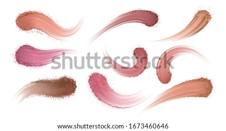 Realistic eyeshadow powder. Makeup blush and eye shadow, cosmetic stroke texture, swatch trace samples. Vector dry powder sample set, how touch smear shadow to eyes