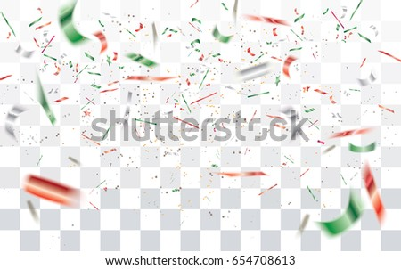 Realistic falling bokeh white,red and green confetti isolated on transparent checkered background.Vector illustration.