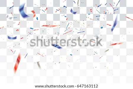 Realistic falling defocused white,red and blue confetti isolated on transparent checkered background.Vector illustration.