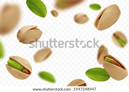 Realistic falling ripe pistachios with green leaves isolated on transparent background. Flying defocusing pistachios in shell. Design element for nuts packaging, advertising, etc. Vector illustration.