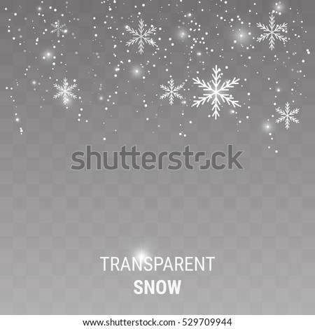 Realistic falling snowflakes isolated on transparent background. Shiny snowflakes