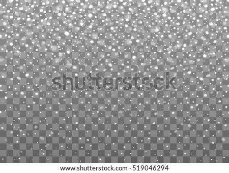 Realistic falling snowflakes. Isolated on transparent background. Vector illustration, eps 10.  #519046294