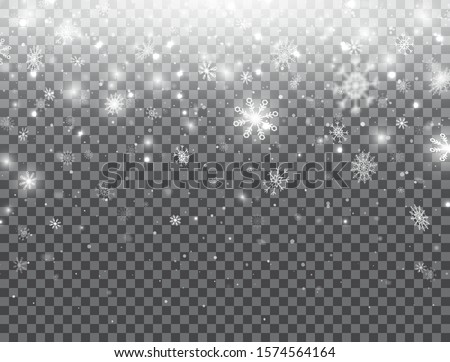 Realistic falling snowflakes isolated on transparent background. Winter background with snow. White snowflakes flying in the air. Magic snowfall texture. Christmas design. Vector illustration.