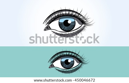 realistic female blue eye close